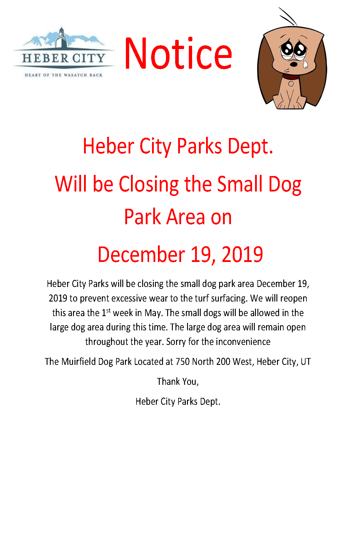 Small Dog Park Closing